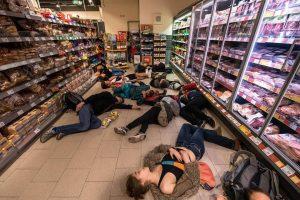 Störaktion im Rewe-Supermarkt